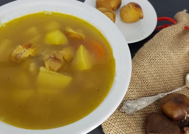 Roasted Chestnuts and potato soup